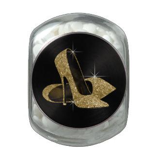 Elegant Black and Gold High Heel Shoe Glass Jars
