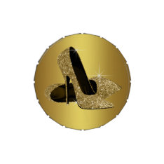 Elegant Black and Gold High Heel Shoe Jelly Belly Candy Tin at Zazzle