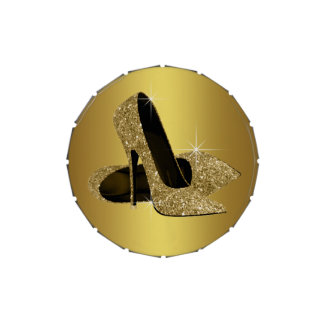 Elegant Black and Gold High Heel Shoe Jelly Belly Candy Tin
