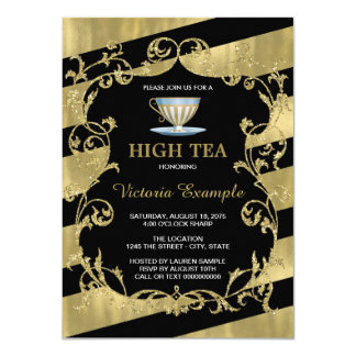 Elegant Black and Gold High Tea Card