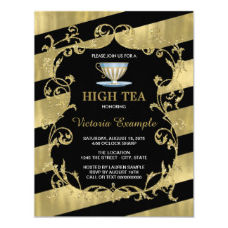 Elegant Black and Gold High Tea Party Card
