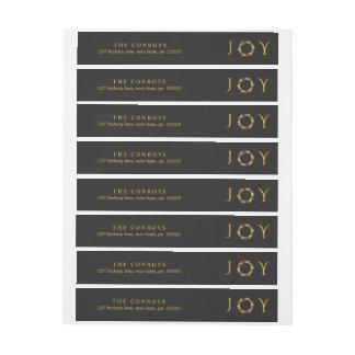 Elegant Black and Gold Holiday Joy Floral Wreath Wrap Around Label