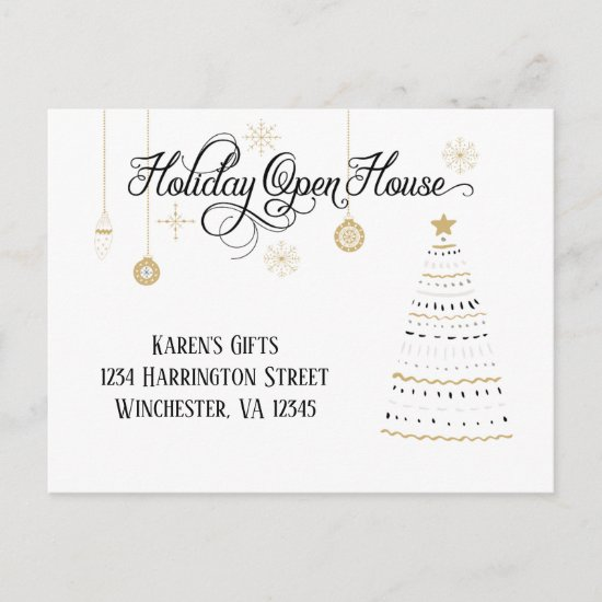 Elegant Black and Gold Holiday Open House  