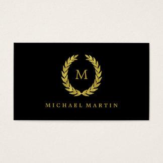 Elegant Black and Gold Laurel Wreath with Monogram Business Card