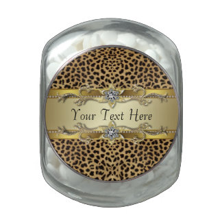 Elegant Black and Gold Leopard Candy Glass Candy Jars