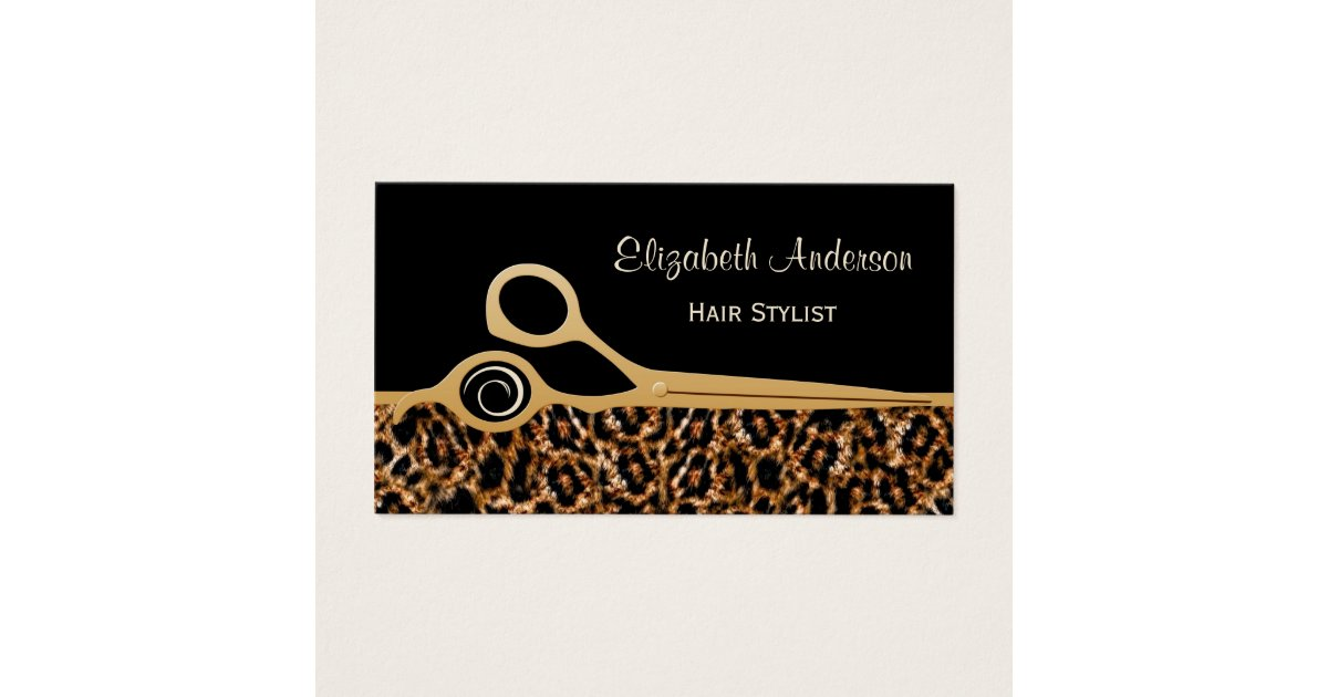 Elegant Black and Gold Leopard Hair Salon Business Card | Zazzle.com