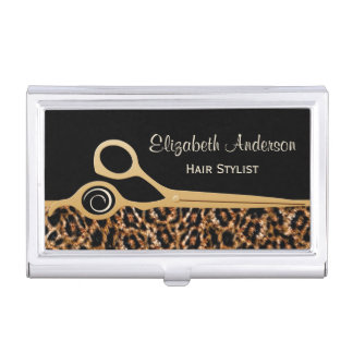 Elegant Black and Gold Leopard Hair Salon Case For Business Cards