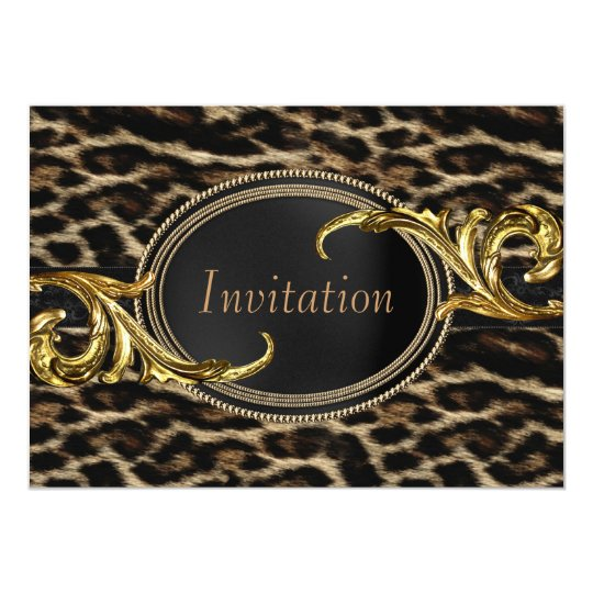 Elegant Black and Gold Leopard Party Card