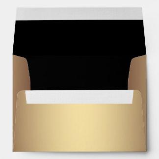 Elegant Black and Gold Linen Envelopes