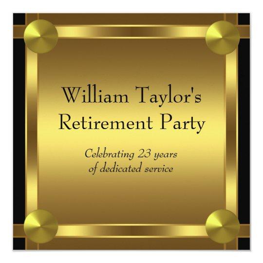elegant black and gold mans retirement party card. Black Bedroom Furniture Sets. Home Design Ideas