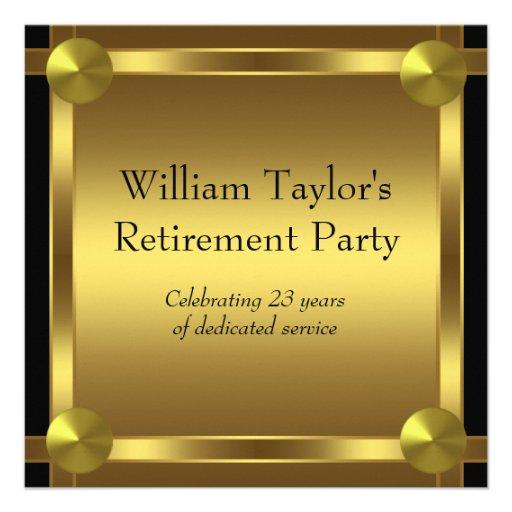 Elegant Black And Gold Mans Retirement Party 5 25x5 25