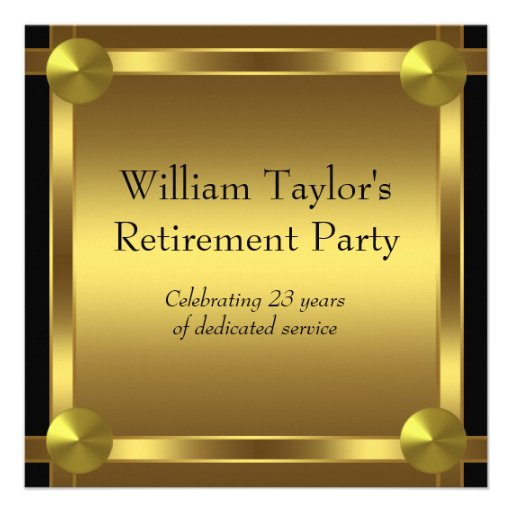 Elegant Black and Gold Mans Retirement Party Personalized Invites
