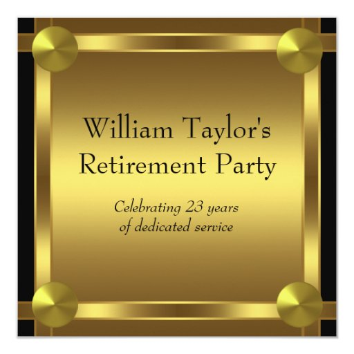 elegant black and gold mans retirement party invitation