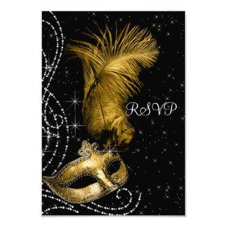 Elegant Black and Gold Masquerade Party RSVP 3.5x5 Paper Invitation Card