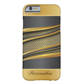 Elegant Black and Gold Metal Design Barely There iPhone 6 Case