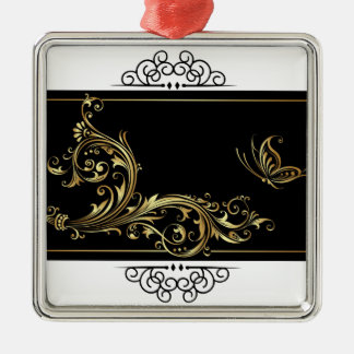 Elegant Black and Gold Metal Ornament