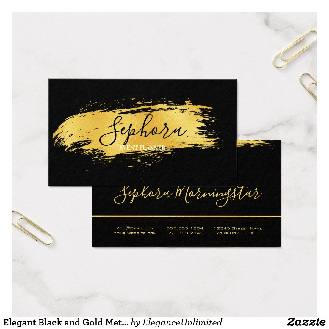 Elegant Black and Gold Metallic Foil Paint Stroke