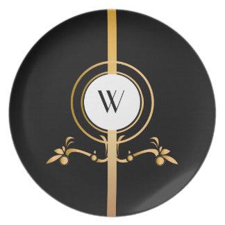 Elegant Black and Gold Monogram Design   Melamine Plate