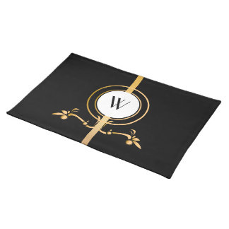 Elegant Black and Gold Monogram Design | Placemat