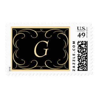Elegant Black and Gold Monogram Postage Stamps