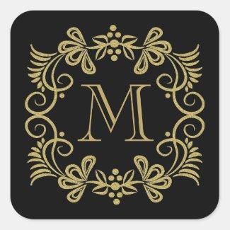 Elegant Black And Gold Monogram Stickers Square Sticker