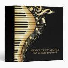 Elegant Black And Gold Music Notes Design 3 Ring Binder