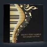 """Elegant Black And Gold Music Notes Design 3 Ring Binder<br><div class=""""desc"""">Cool modern design,  abstract music theme design in black and gold tones.</div>"""