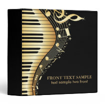 Elegant Black And Gold Music Notes Design 3 Ring Binder