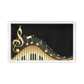 Elegant Black And Gold Music Notes Design Acrylic Tray