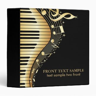 Elegant Black And Gold Music Notes Design Binder