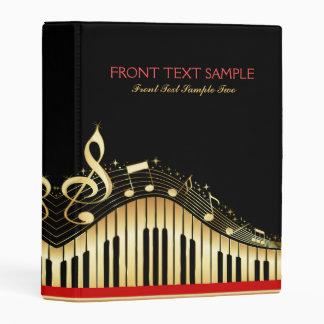 Elegant Black And Gold Music Notes Design Mini Binder