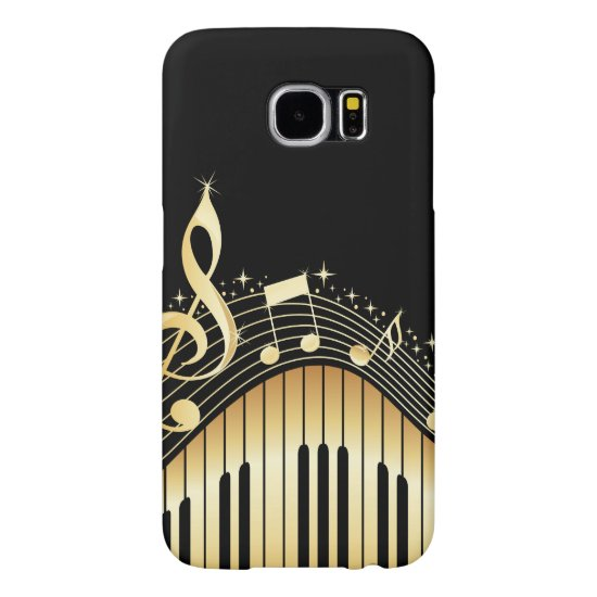 Elegant Black And Gold Music Notes Design Samsung Galaxy S6 Case