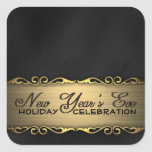 Elegant Black and Gold New Year's Eve Party Square Sticker