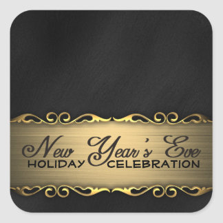 Elegant Black and Gold New Year's Eve Party Stickers