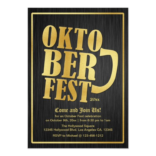 Elegant Black and Gold Oktoberfest 2013 Card
