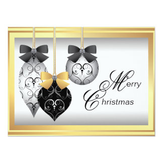 Elegant Black and Gold Ornaments Christmas Party Card