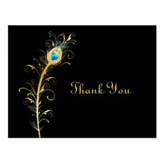 Elegant Black and Gold Peacock Feather Thank You Postcard