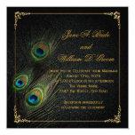 Elegant Black and Gold Peacock Wedding 5.25x5.25 Square Paper Invitation Card