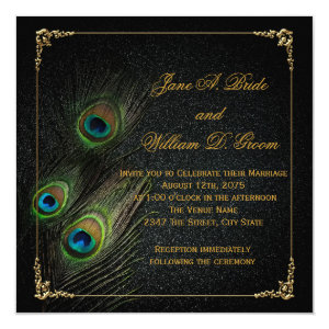 Elegant Black and Gold Peacock Wedding 5.25x5.25 Square Paper Invitation Card