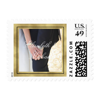 Elegant Black and Gold Personalized Photo and Text Postage