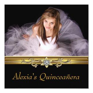 Elegant Black and Gold Photo Quinceanera Card
