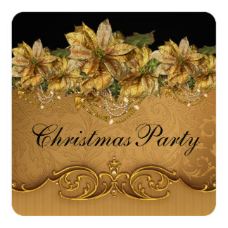 Elegant Black and Gold Poinsettia Christmas Party Card