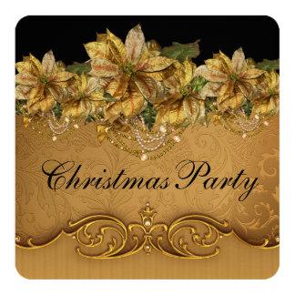 Elegant Black and Gold Poinsettia Christmas Party Invitation
