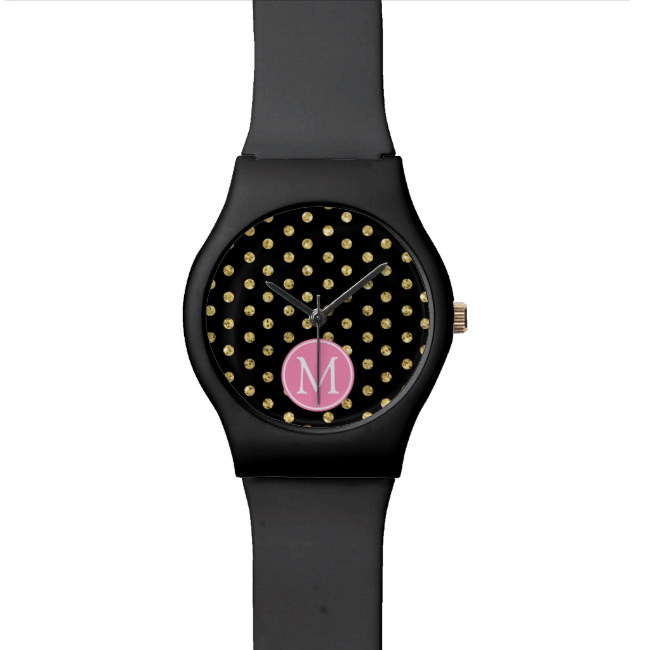 Elegant black and gold polka dots wristwatches