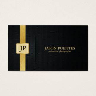Elegant Black and Gold Professional Photographer Business Card