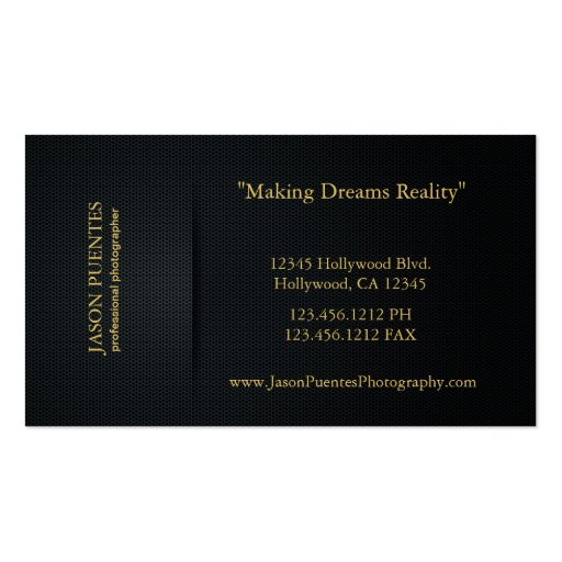 Elegant Black and Gold Professional Photographer Business Cards (back side)