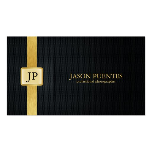 Elegant Black and Gold Professional Photographer Business Cards (front side)