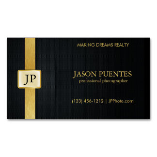 Elegant Black and Gold Professional Photographer Magnetic Business Card