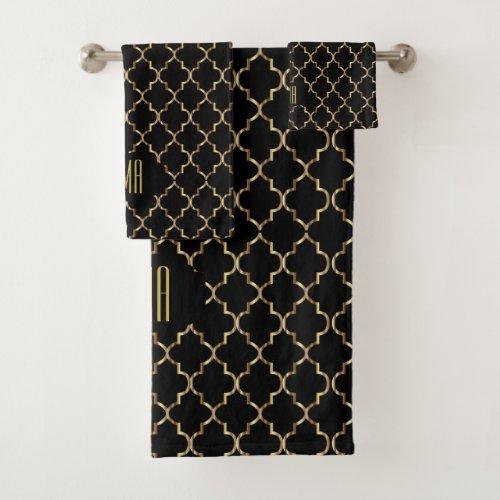 Elegant Black and Gold Quatrefoil Patterns Bath Towel Set