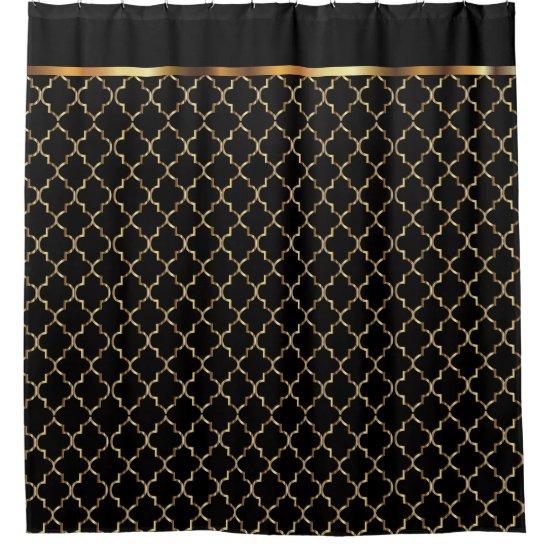 Elegant Black and Gold Quatrefoil Patterns Shower Curtain